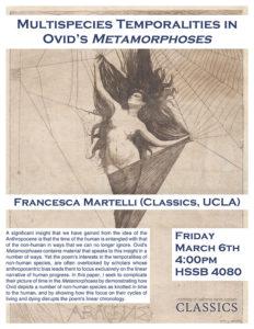 "Francesca Martelli (UCLA) ""Multispecies temporalities in Ovid's Metamorphoses"""