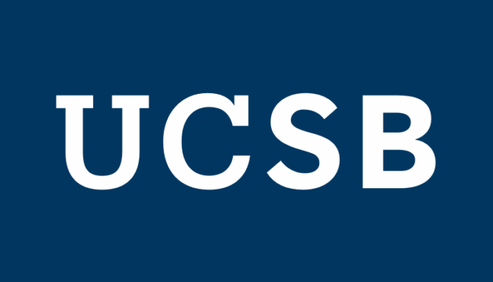 UCSB secondary logo in white with a navy background