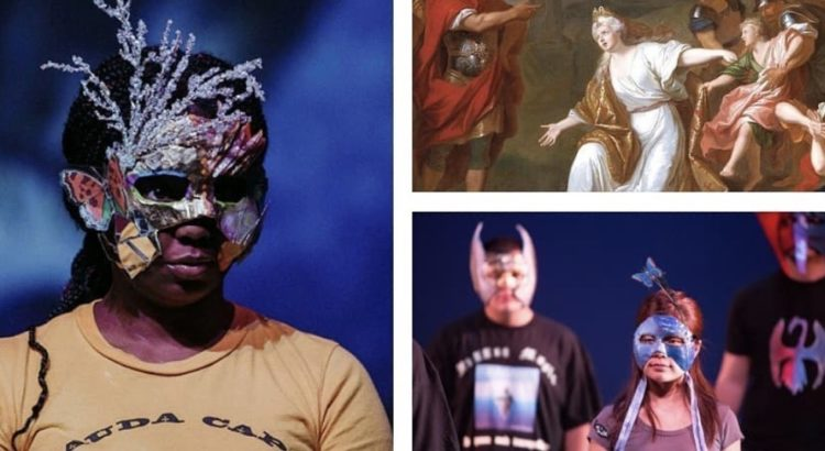 A layout of 3 photos. On left: A woman in a yellow shirt in a silver mask. Top right: An image of an old painting of a woman in a white robe holding her arms out in front of a crowd of people. Bottom right: A woman in a pink shirt in a silver mask.