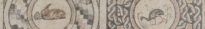 2 mosaics of a rabbit and a bird