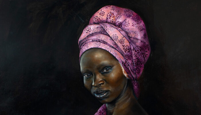 Painting of Woman with her hair wrapped up in a pink cloth